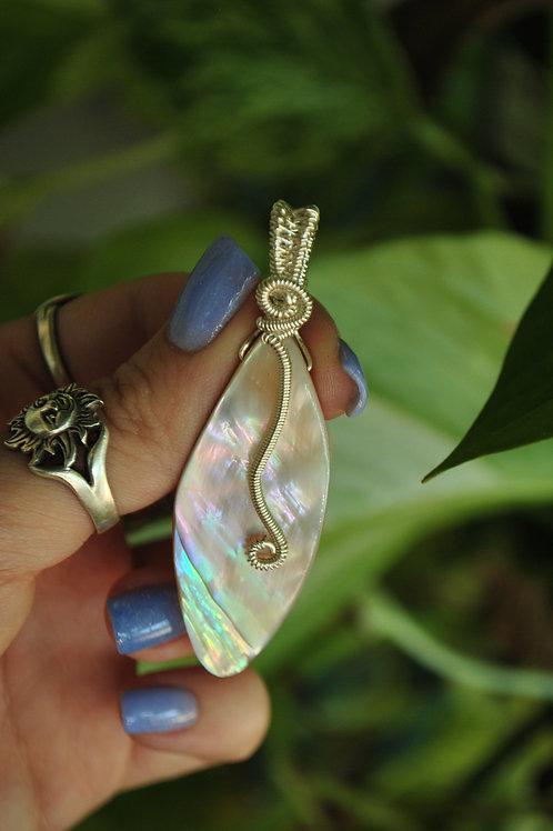 Silver Wrapped Abalone Pendant