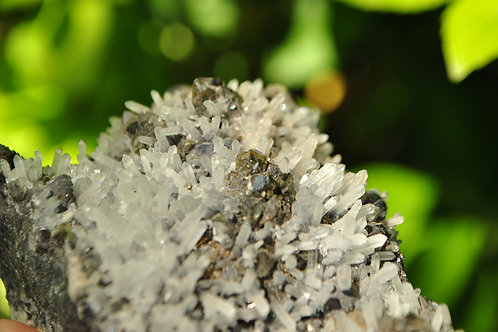 Quartz on Galena & Pyrite | Black & White Crystals | Raw Natural Mineral | Le
