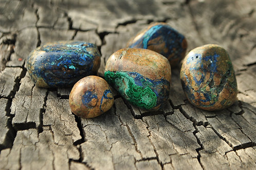 Large Tumbled Malachite & Azurite Stones