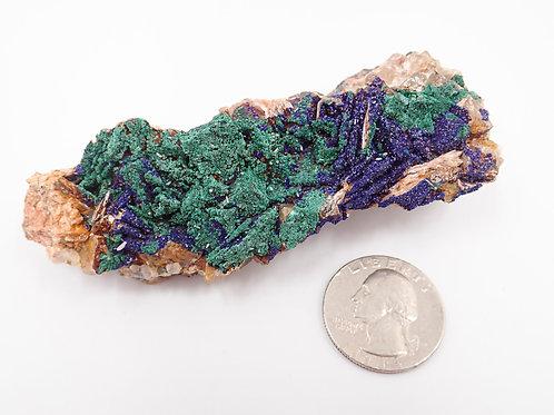 Malachite after Azurite on Fluorite