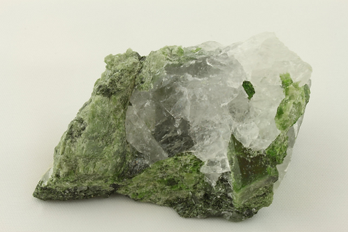 Diopside in Quartz | Pyroxene mineral | Vivid green crystal | Chrome Diopside |