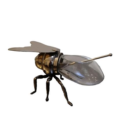 Vintage Elkington Bee Honey Pot with Spoon