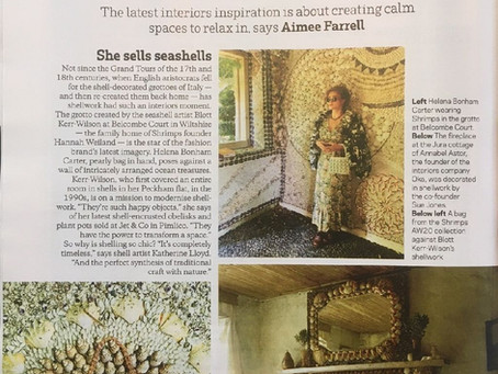 Blott's shell house with Helena Bonham Carter in Sunday Times Feature by Aimee Farrell