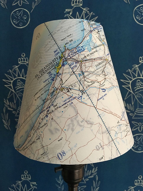 Candle Lampshade in Special Edition Map Silk