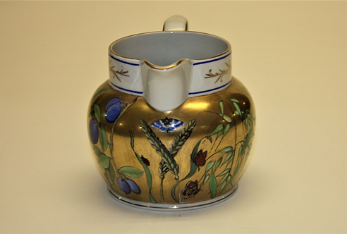 Hand Painted Jug with Blue Rim Detail and Damsons