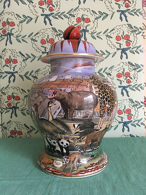 Beautifully hand painted Extinction Urn by Priscilla Kennedy