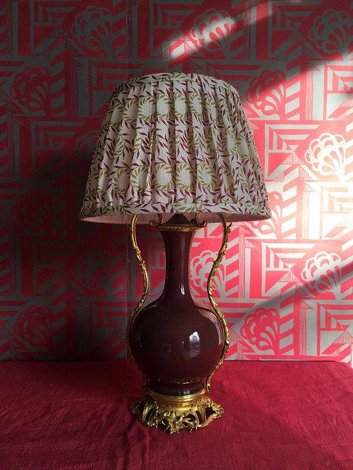 Early 19thC Sang de Boeuf Vase Lamp