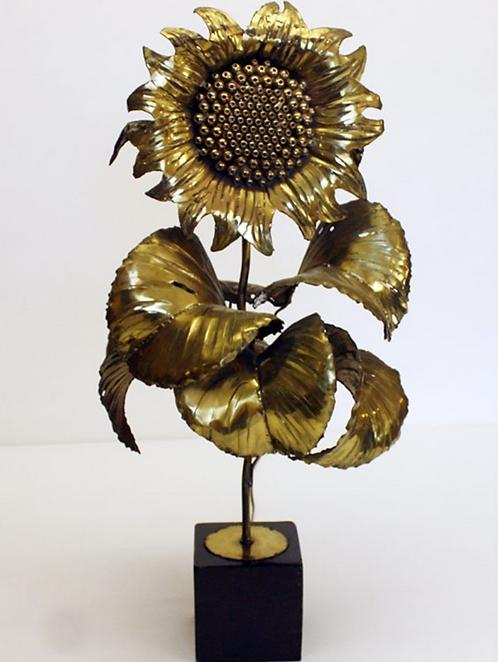 Gilt Metal Lamp in Shape of Sunflower