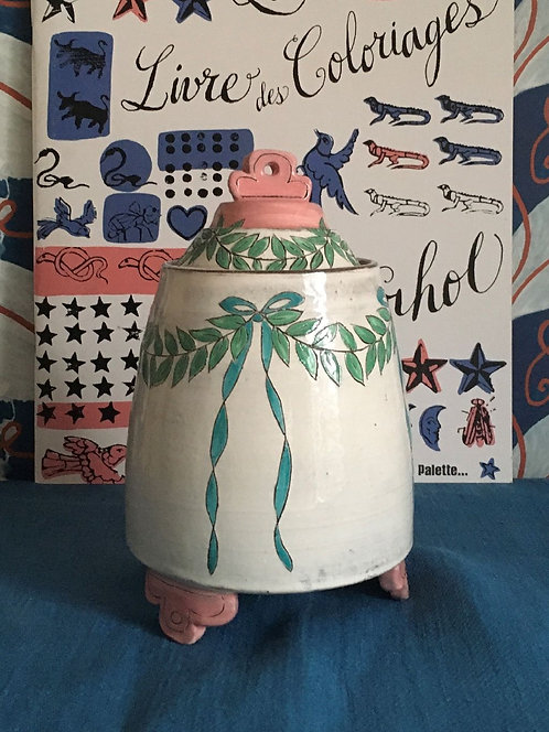 Katrin Moye White and Pink Lidded Pot - SOLD