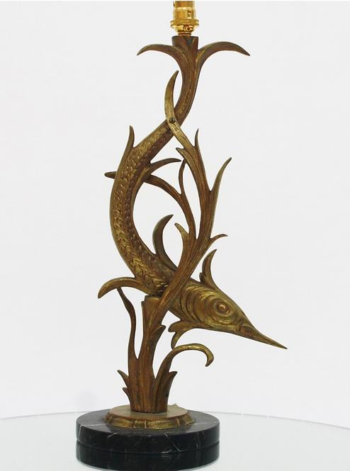 Mid Century Gilt Brass Swordfish Lamp