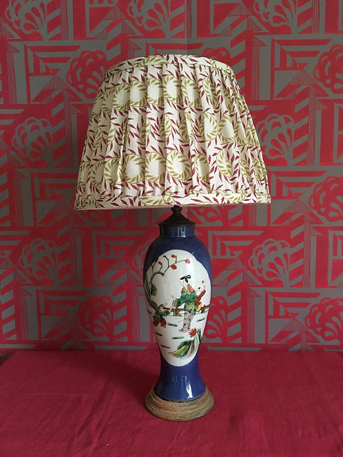 Chinoiserie Powder Blue Vase converted to table lamp