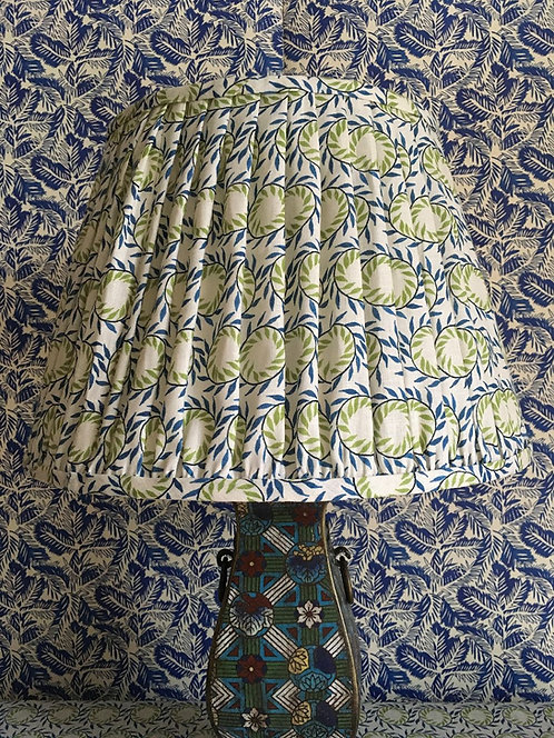 Gathered Linen French Drum Shade in Garland Blue and Green Linen