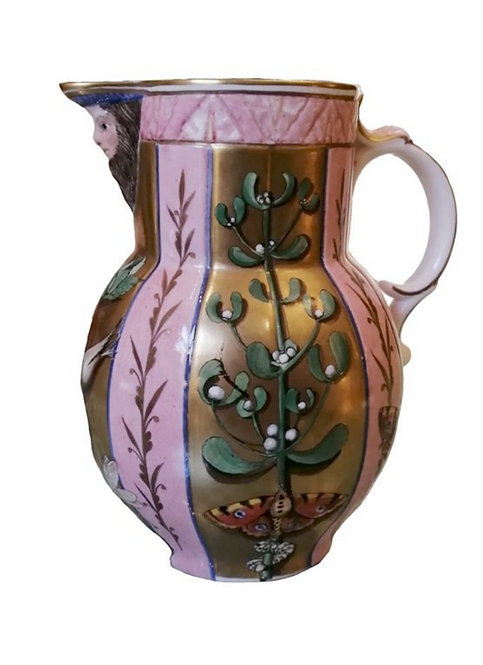 Pink Gilded jug beautifully hand painted by Priscilla Kennedy