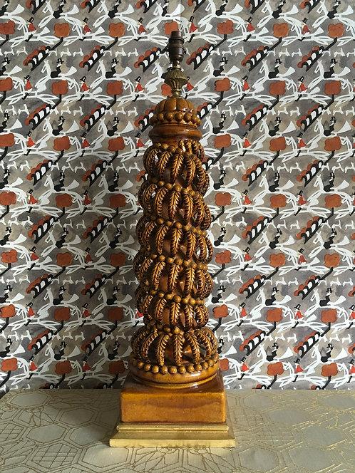 Casa Pupo Style Brown Glaze Leaf Motif Bondia Table Lamp