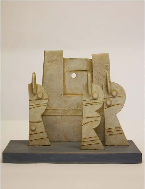 John Maltby Stoneware Sculpture 'Three Figures on a Wall'