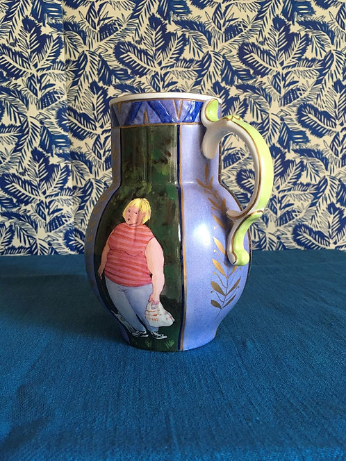 Blue Gilded Hand Painted Jug