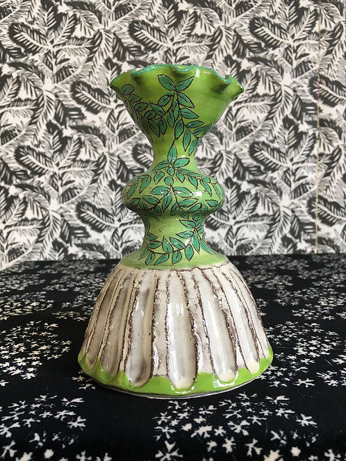 Katrin Moye Green and White Candle Stick