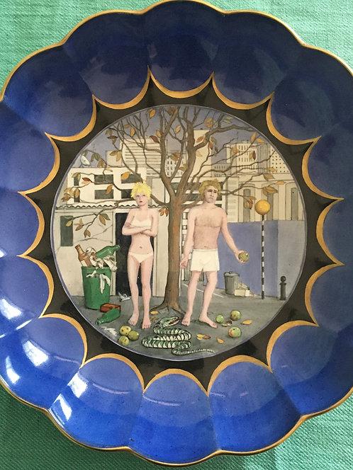 Large Blue Adam and Eve Bowl - Modern Take
