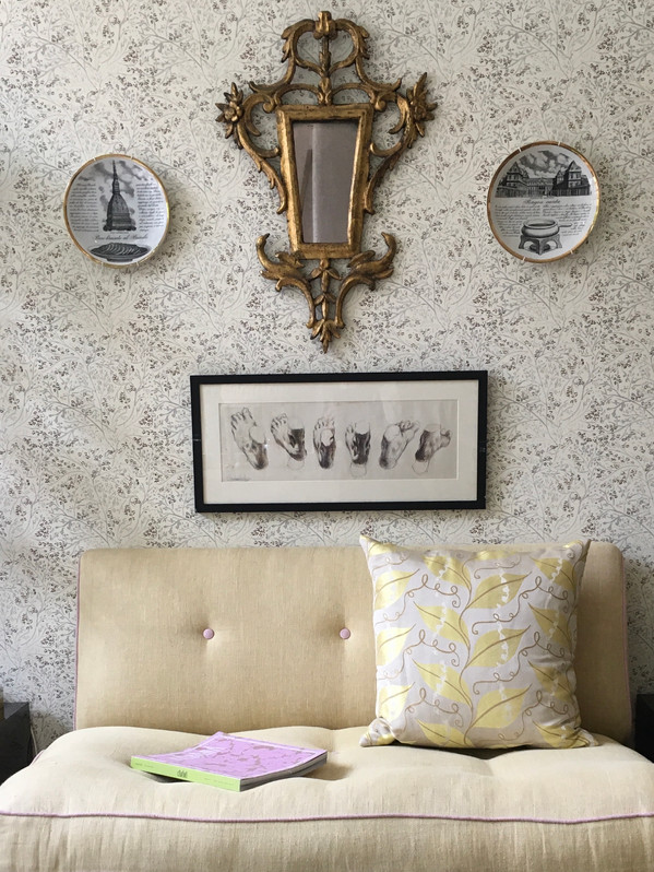 Tree Bough Printed Paper, Leaf Trail Silk Cushion and Plain Linen on Sofa