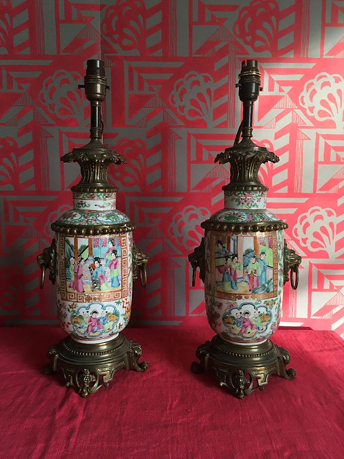 Decorative Pair of Chinese Canton Porcelain Lamp Vases