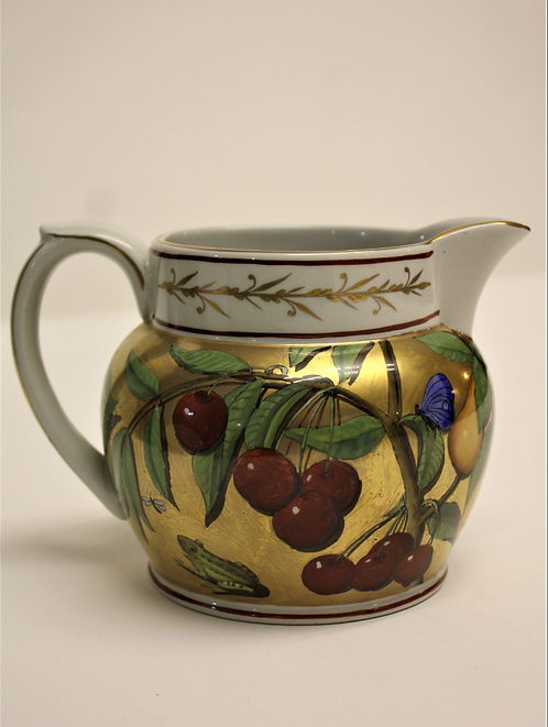 Hand Painted Jug with red rim detail and cherries