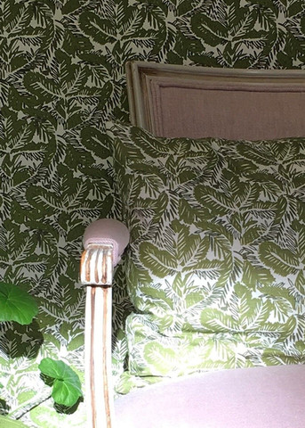 Chinese Greens and Pink Plain Linen on Chair