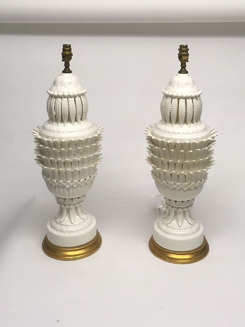 Pair of striking large Casa Pupo style Spanish pottery lamps