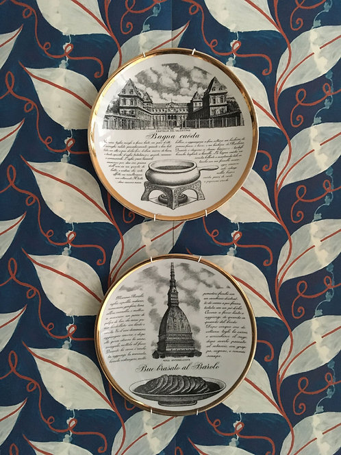 Two Unmatched Fornasetti Turin Series Plates
