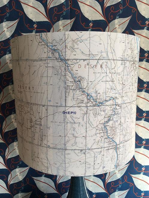 Pair of Large Drum lampshade in vintage wartime map silk