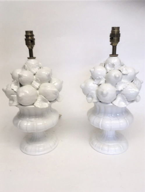 Pair of White China Italian Table Lamps