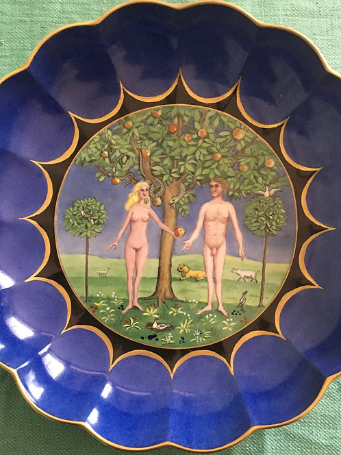 Large Blue Adam and Eve Bowl