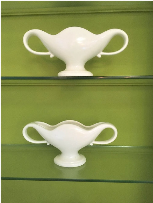 Pair of Small Constance Spry Classic White Mantle Vases