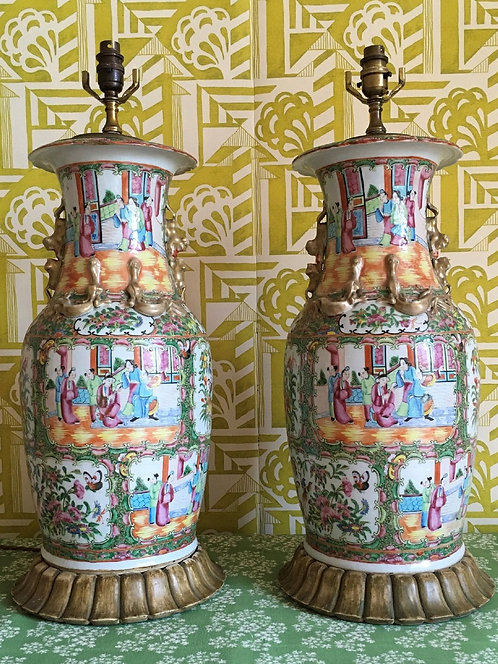 Large Pair of Canton Lamp Vases