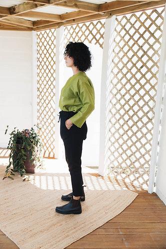 Cotton stretch drop crotch pants