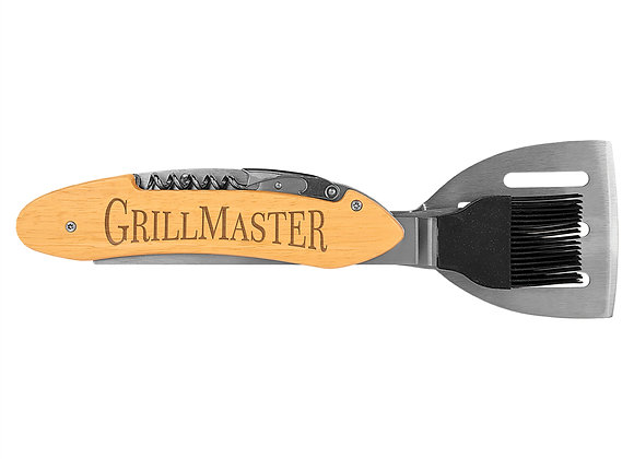 """11 1/2"""" Wood 5-in-1 BBQ Tool"""