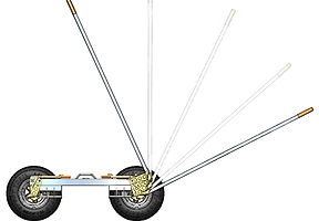 Towing safety equipment: Safety ratchets on Collins Hi Speed Dollies raise vehicle in steps for safer and easier loading