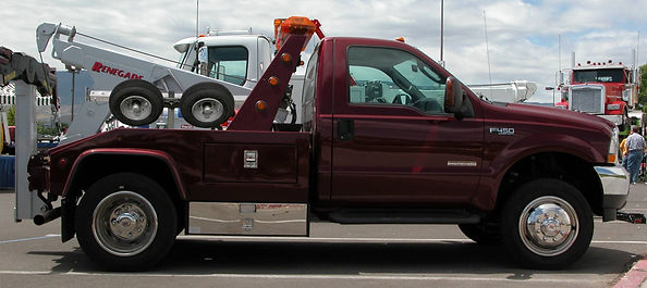 Tow truck with Collins Hi-Speed Dollies