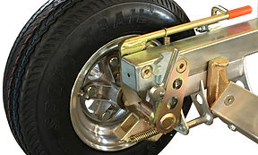 Detailed view of Collins Hi Speed Dolly zinc plated with aluminum wheel and aluminum hub
