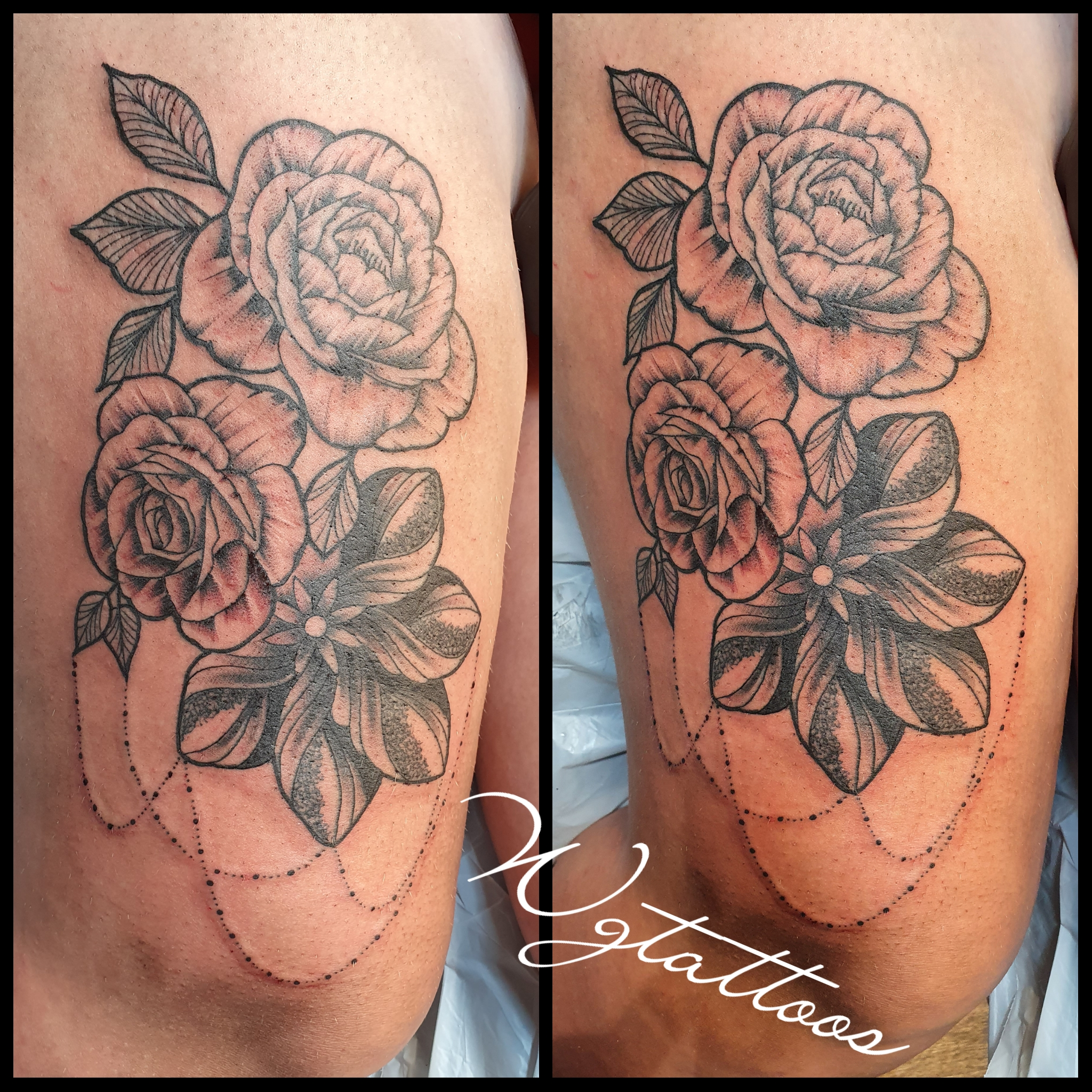 thigh rose tattoo