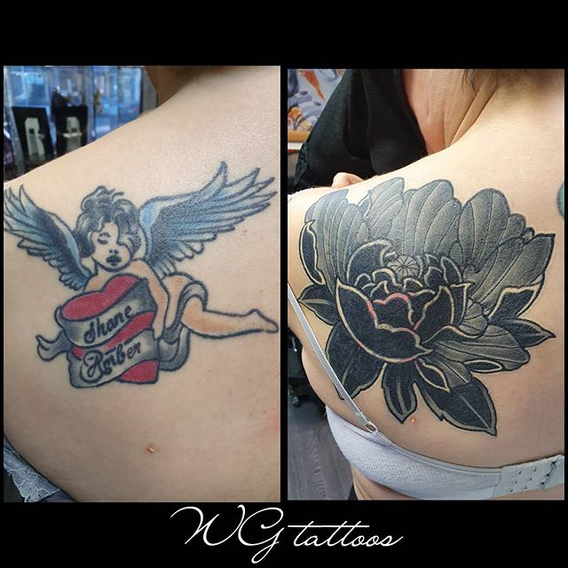 #coverup #lotusflower #backtattoo  #wgta