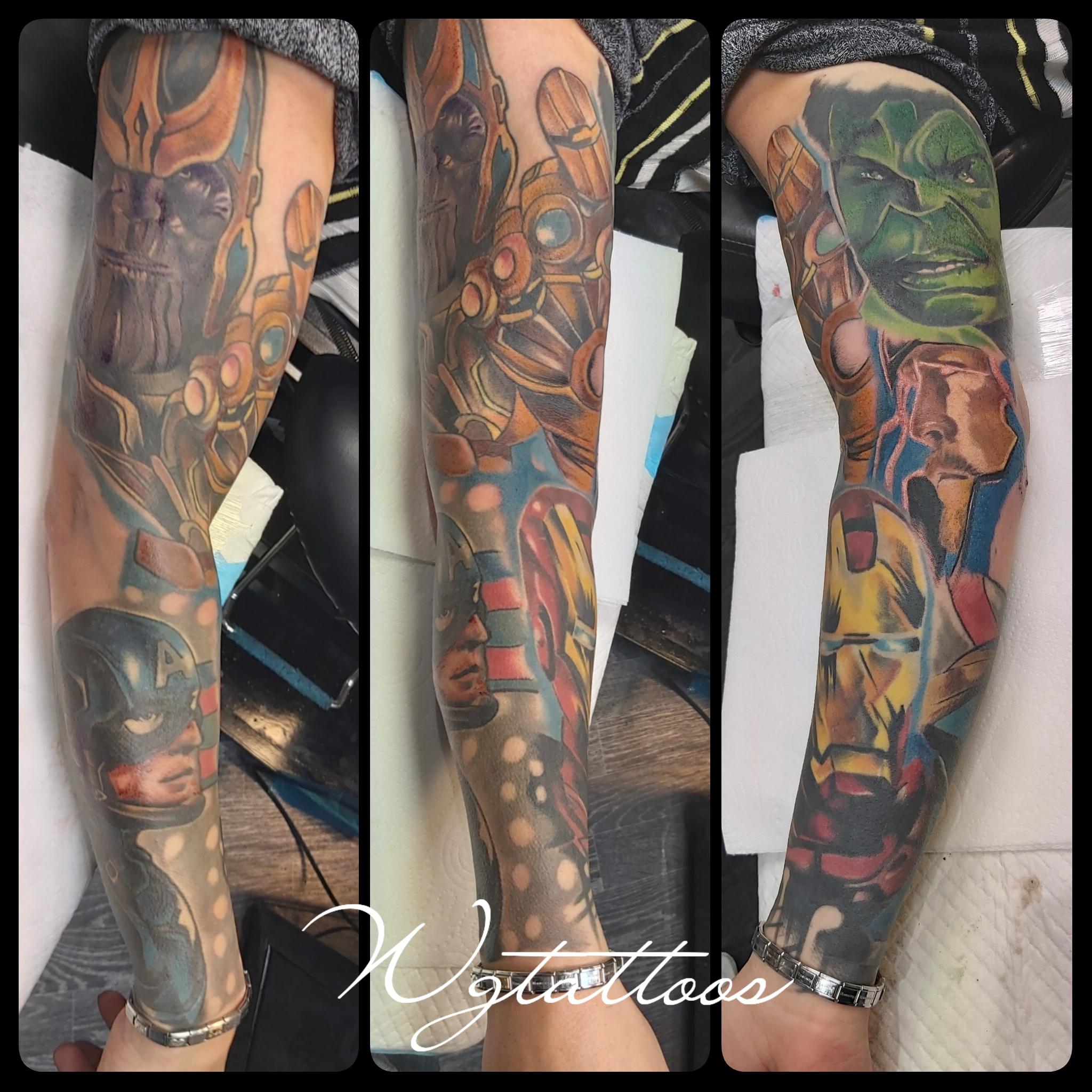 marvel sleeve tattoo