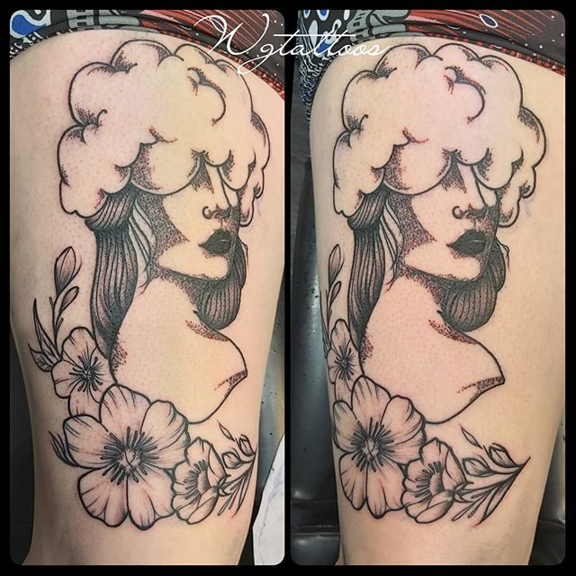 cloud and lady tattoo