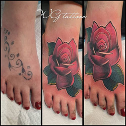 #coverup #rosetattoo #fun #foottattoo #c