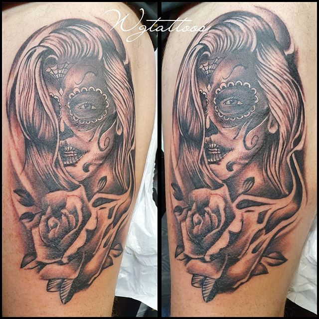 #dayofthedead #lady #rosetattoo #blackwo