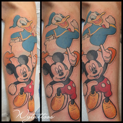 mickey mouse and donald duck tattoo