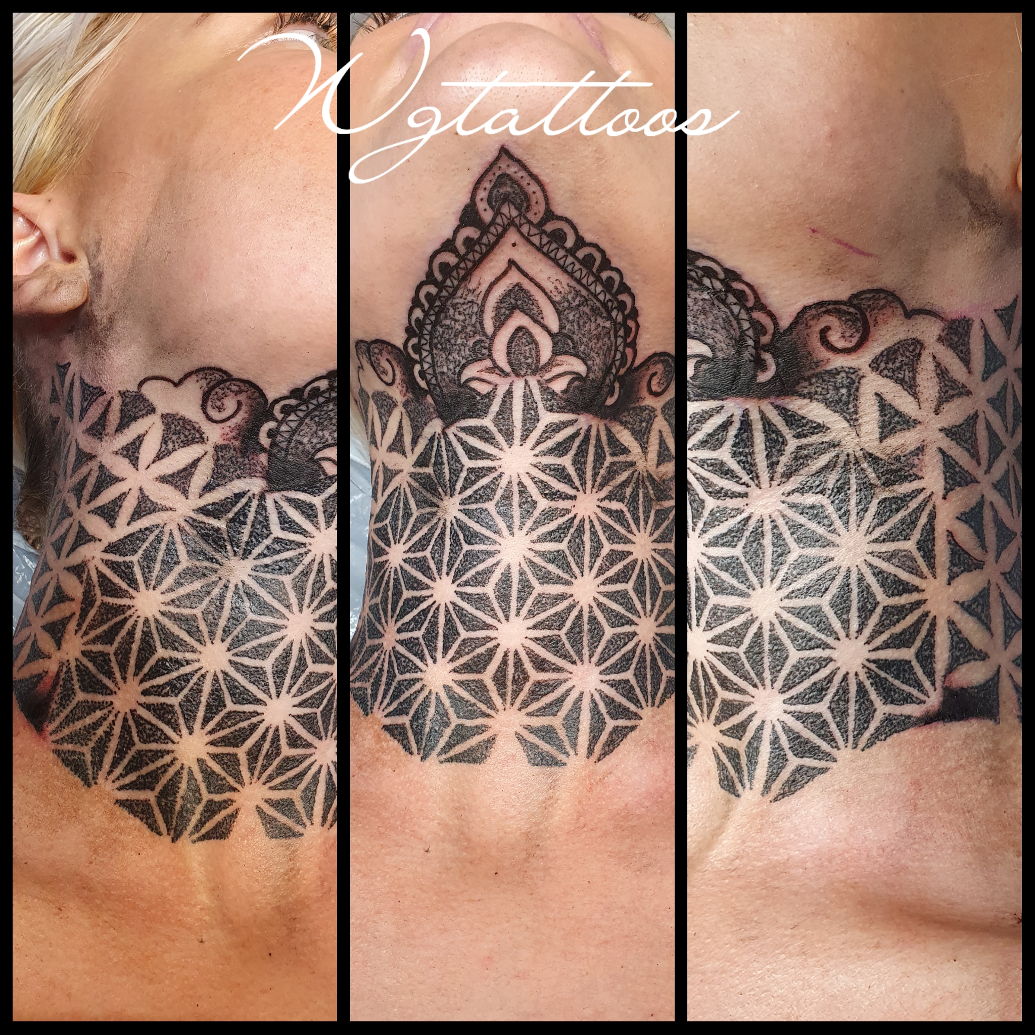dotwork throat tattoo