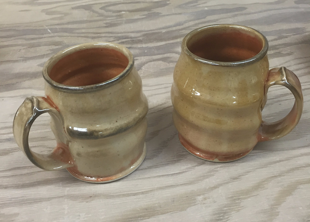 New Shino Mugs from a recent firing.