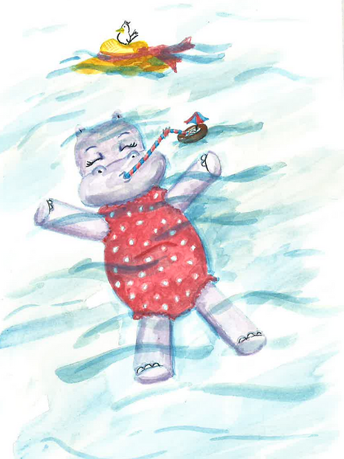 Happy Phoebe The Baby Hippo PRINT
