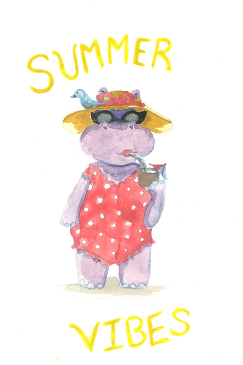 """""""SUMMER VIBES"""" Baby Phoebe the Hippo PRINT"""