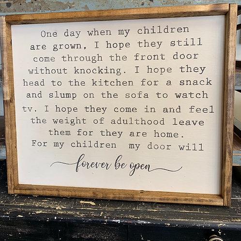 ONE DAY WHEN MY CHILDREN ARE GROWN